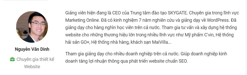 Đôi nét về Giảng viên: Chuyên gia Nguyễn Văn Dinh