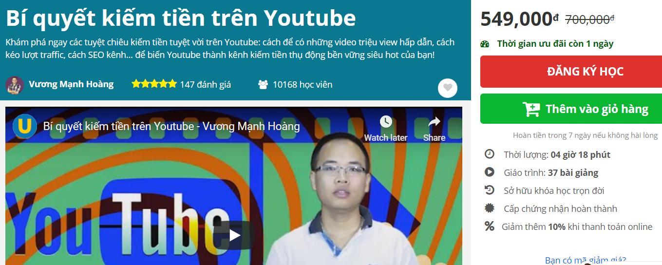 Review khóa học Bí quyết kiếm tiền trên youtube của Unica
