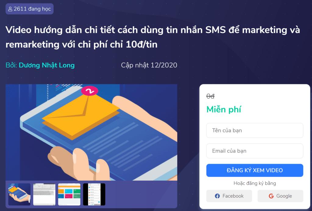 Review khóa học Hướng dẫn cách dùng SMS để marketing & remarketing – Miễn phí 100%